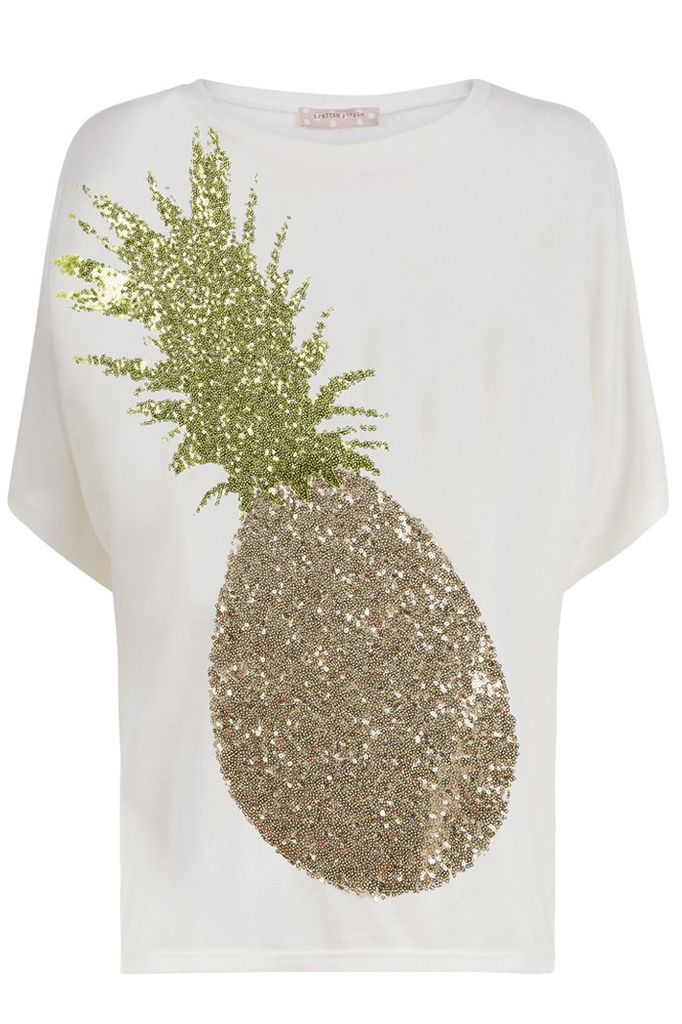 When The Sun Goes Down Pineapple Top In White