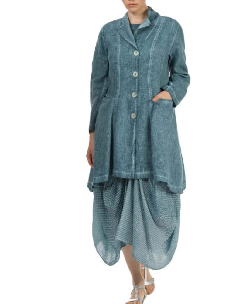 Griza's Washed Linen Jacket In Grey Blue