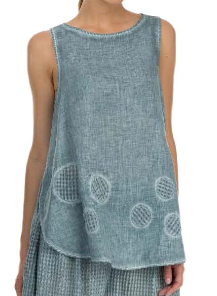 Griza's Sleeveless Dot Tunic In Grey Blue