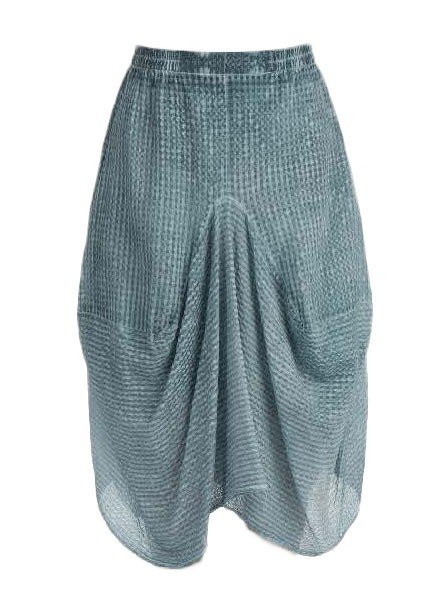 Griza's Washed Silk Balloon Check Skirt In Grey Blue