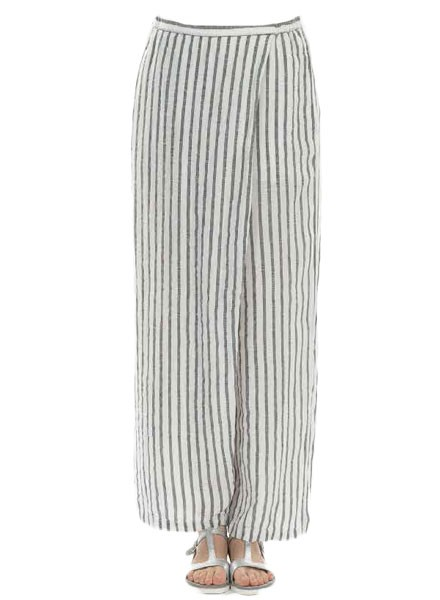 Griza's Washed Linen Stripe Pant In Black & White