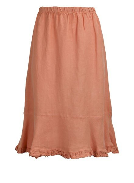 Ruffled Bias Cut Short Skirt In Coral