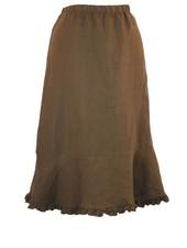 Ruffled Bias Cut Short Skirt In Brown