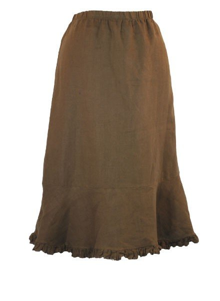 Ruffled Bias Cut Short Skirt In Brown
