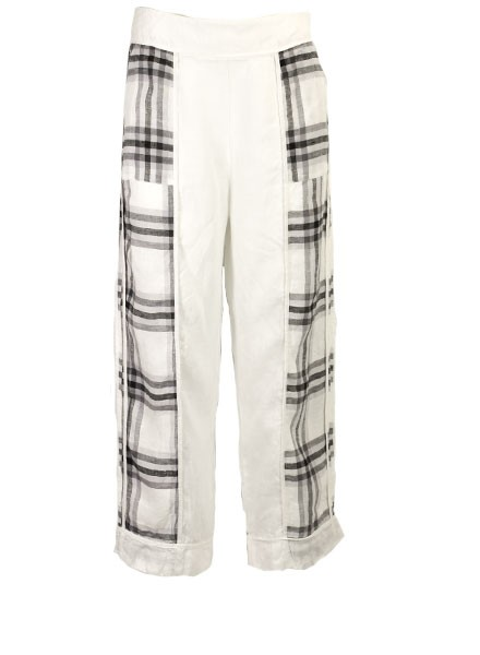 Griza's Big Check Washed Linen Pant