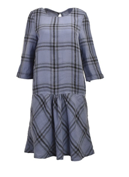 Griza's Washed Linen Big Check Dress In Light Blue
