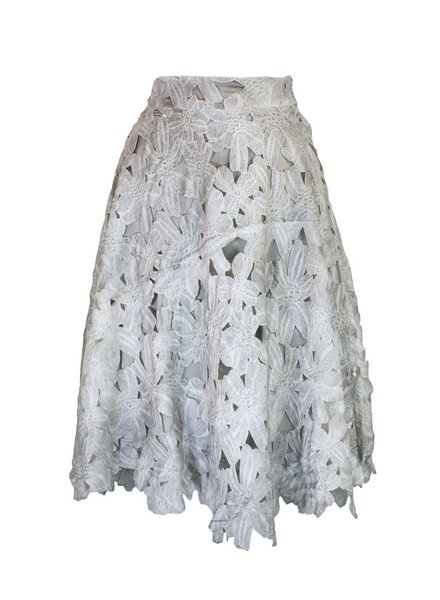 Floral Eyelet Skirt In Grey