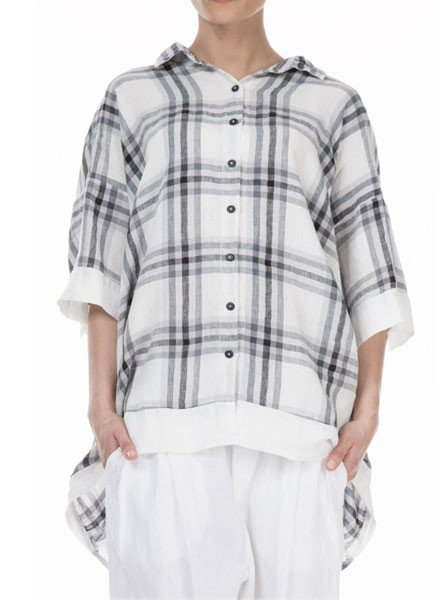 Griza's Big Check Washed Linen Top