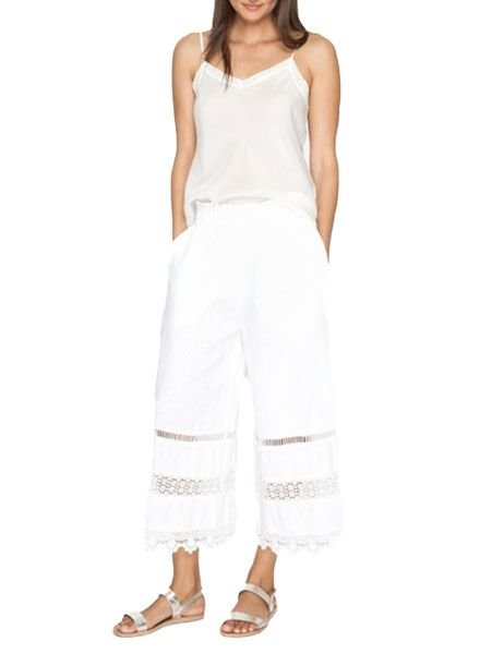 Johnny Was Linen Cropped Pant In White
