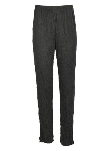 Comfy Long Narrow Pants In Black Crinkle