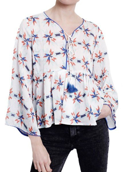 Whistle In The Wind Top In Orange & Blue