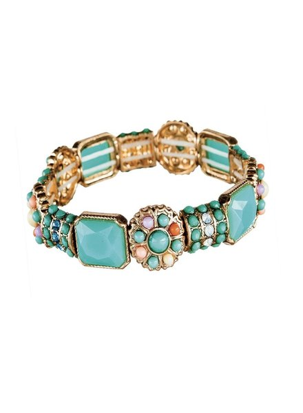 Turquoise Multi Bead Stretch Bracelet