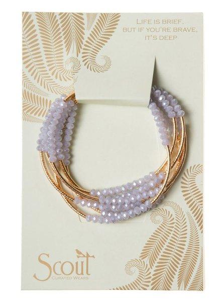 Wrap Bracelet Or Necklace In Lavender & Gold
