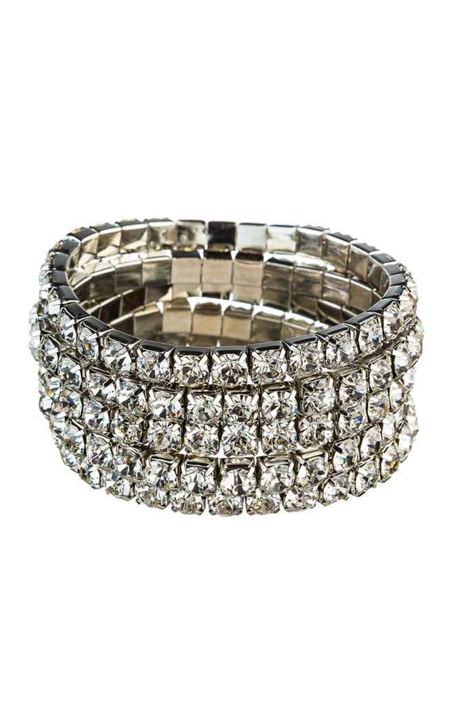 Set of Clear Crystal Stretch Bracelets