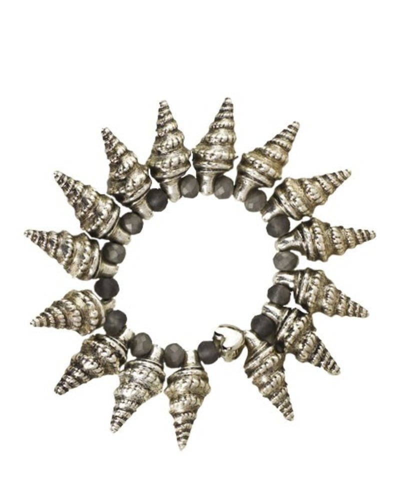 Spikey Horn Shell Bracelet With Grey Beads