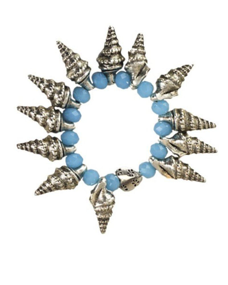 Spikey Horn Shell Bracelet With Crystal Tuquoise Beads