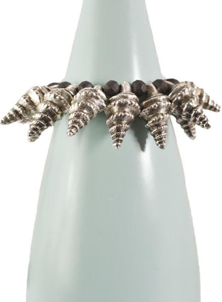 Spikey Horn Shell Bracelet With Black Beads