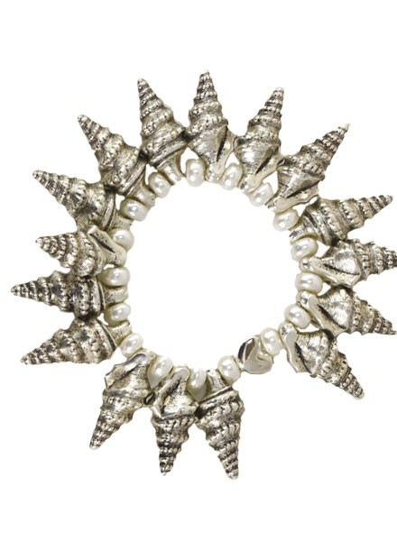Spikey Horn Shell Bracelet With Pearls