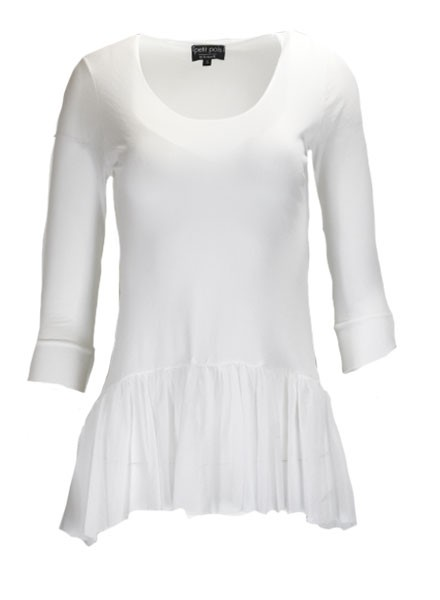 Petit Pois Shirred Bottom Top In White