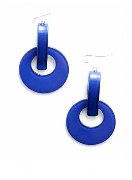 Resin Door Knocker Earrings In Colbalt