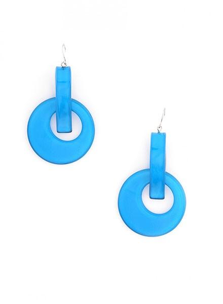 Resin Door Knocker Earrings In Neon Blue