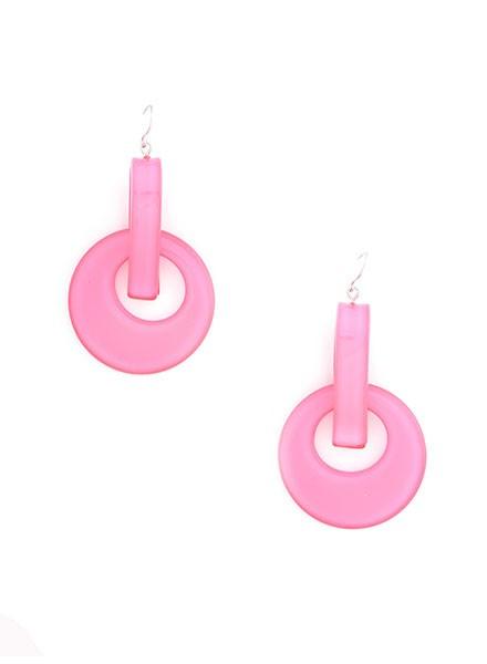 Resin Door Knocker Earrings In Neon Pink