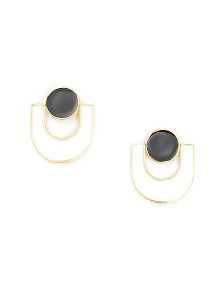 U Enamel Earrings In Black & White