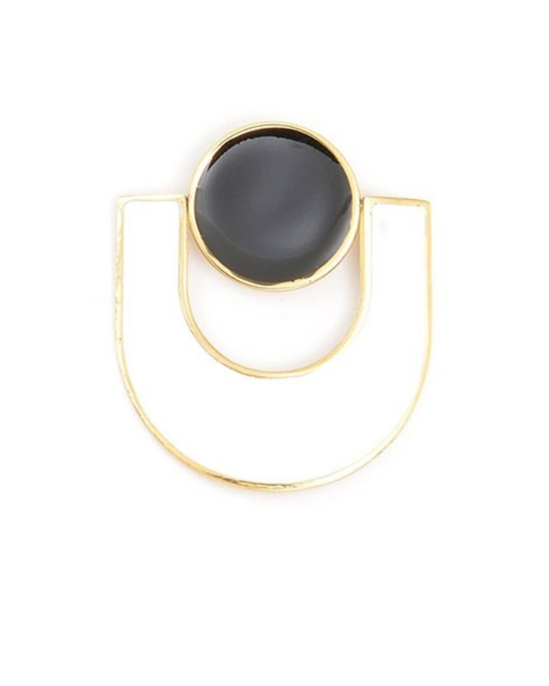 U Enamel Earrings In Black & White