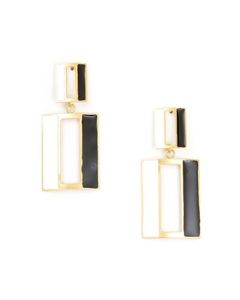 Door Enamel Earrings In Black & White