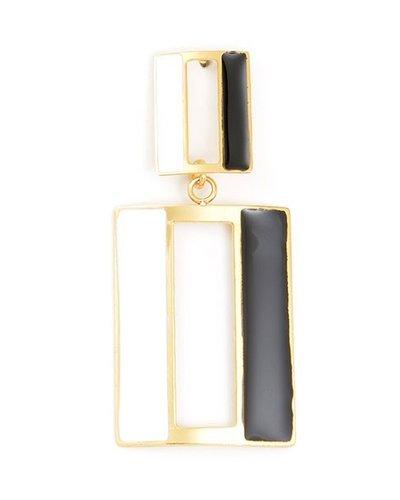 Door Enamel Earrings In Black & White