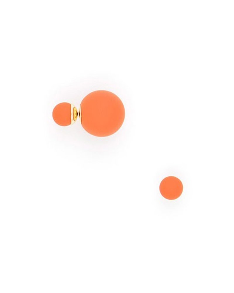 Matte Double Ball Earrings In Orange