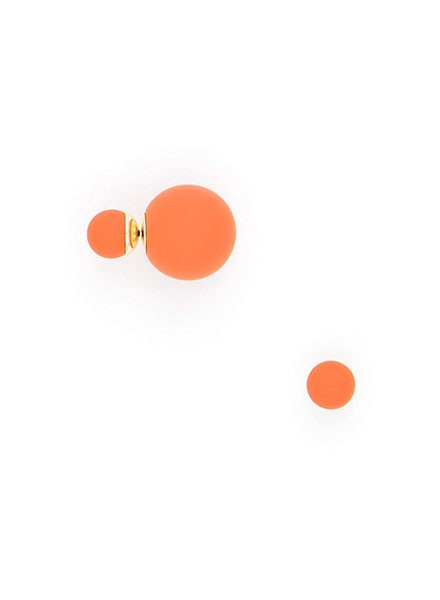 Matte Double Ball Earrings In Orange