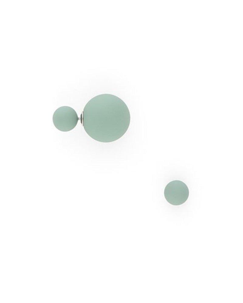Matte Double Ball Earrings In Teal
