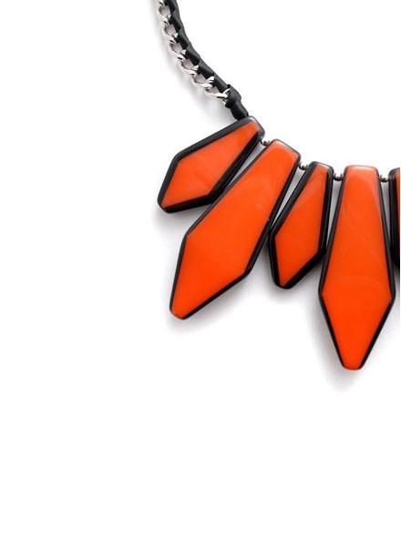 BoHo Glam Fan Necklace In Orange