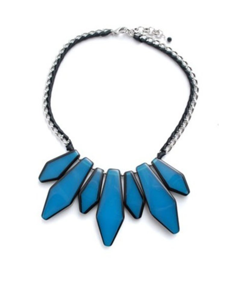 BoHo Glam Fan Necklace In Blue