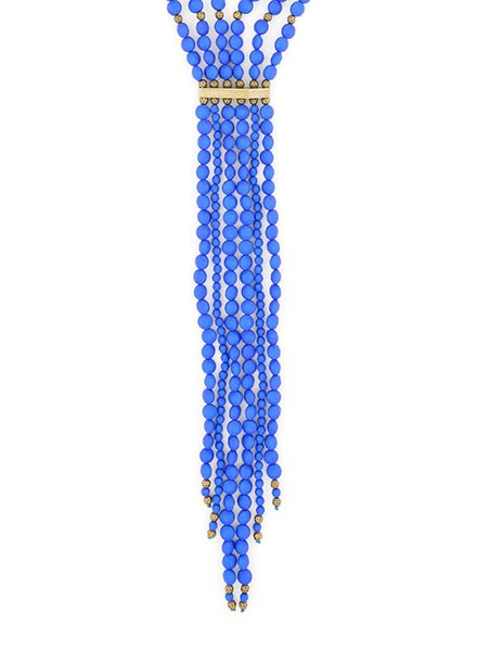 Beaded Matte Y-Necklace In Colbalt