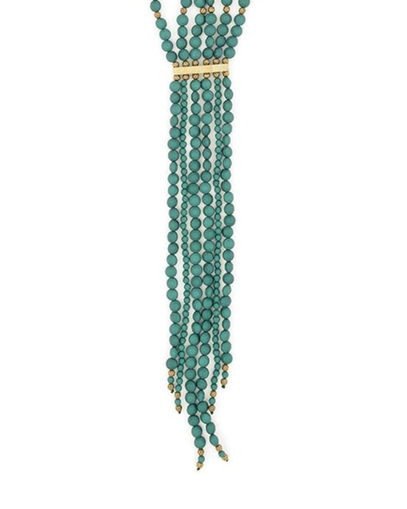 Beaded Matte Y-Necklace In Dark Green