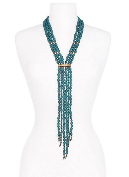 Beaded Matte Y-Necklace In Dark Green