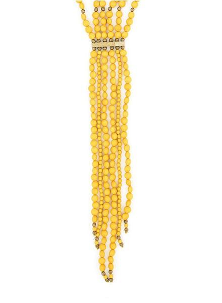 Beaded Matte Y-Necklace In Honey