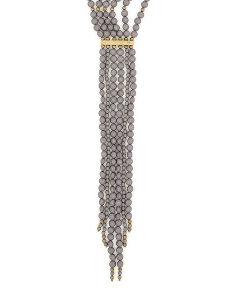 Beaded Matte Y-Necklace In Grey
