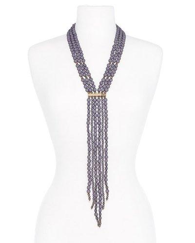 Beaded Matte Y-Necklace In Grey