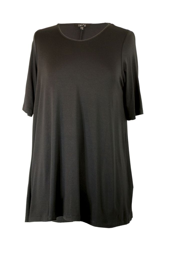 Comfy Elbow Sleeve Tunic In Black