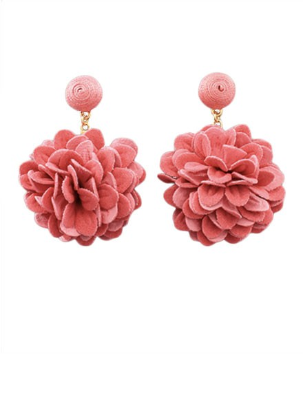 Flower Drop Earrings In Pink