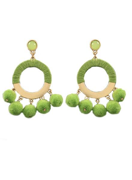 Pom Pom Ring Earrings In Green