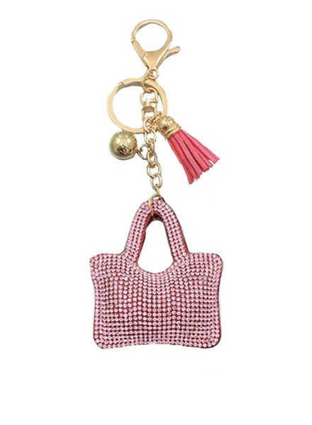 Lil Crystal Purse Keychain In Pink