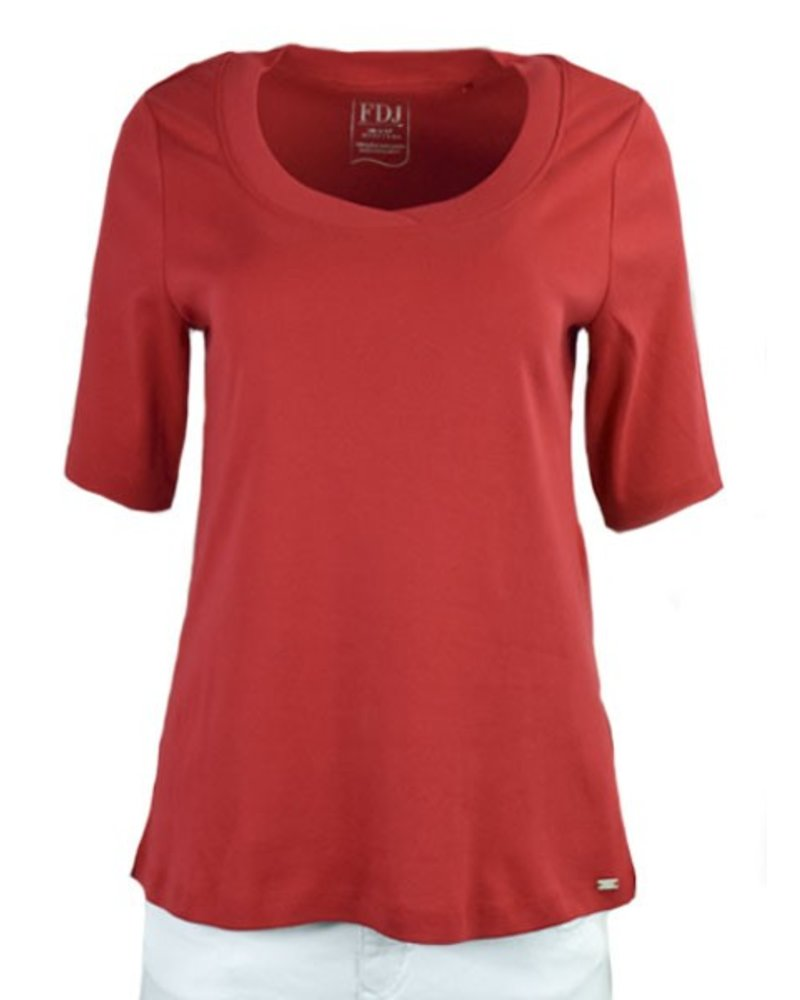 French Dressing Scoop Neck Tee In Red