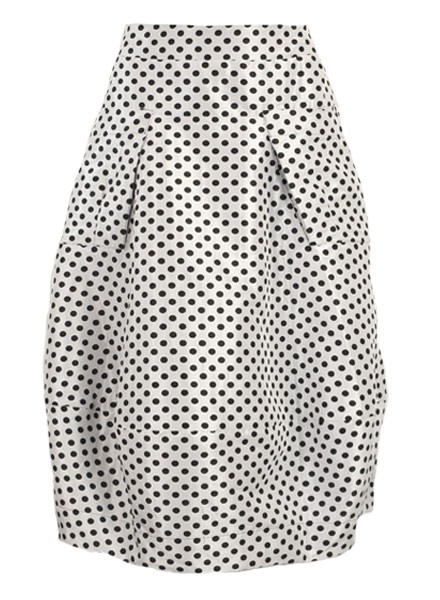 Midtown Skirt In White With Black Dots