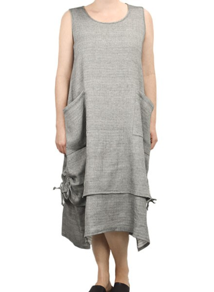 Comfy's Gina Cotton Gauze Dress In Heather Black