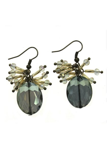 Green Crystal Bead Cluster Earring