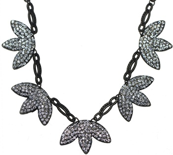 Crystal 3 Leaf Flower Necklace